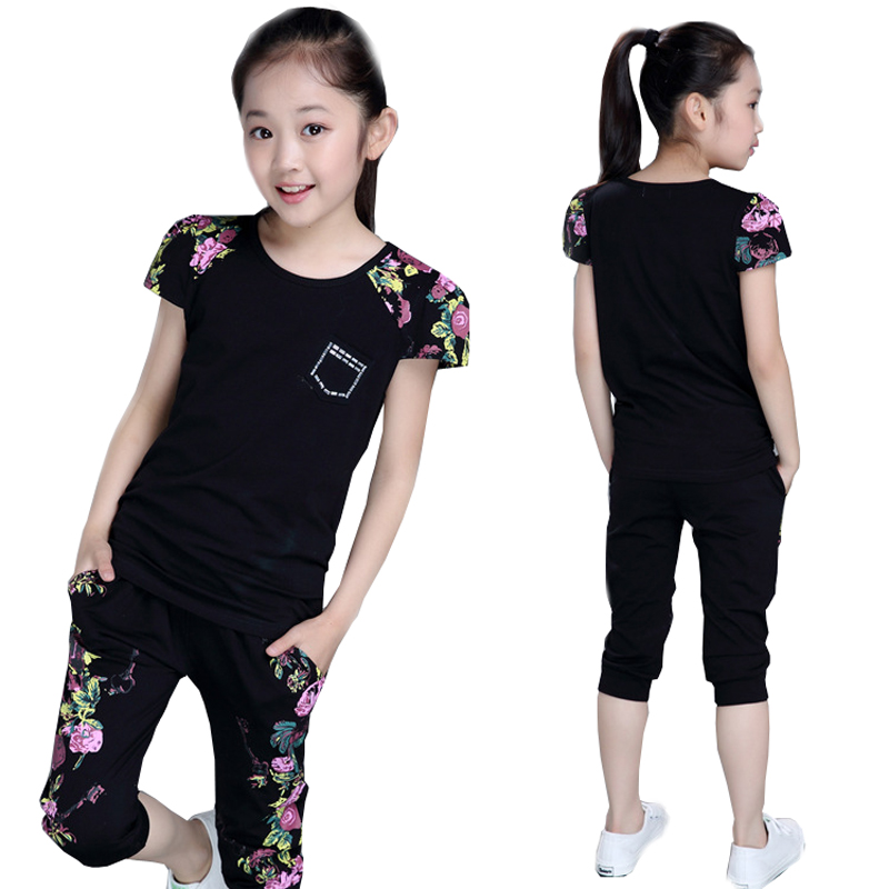 2018 girls summer short sleeve sports suit clothes set for girl Childrens Print clothing sets 4 6 7 8 9 10 12 13 14 years old