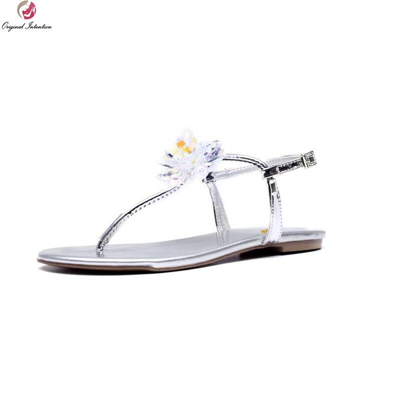 Здесь продается  Original Intention New Fashion Women Sandals Cow Leather Open Toe Flat Sandals Ladies Quality Silver Shoes Woman US Size 4-8.5  Обувь
