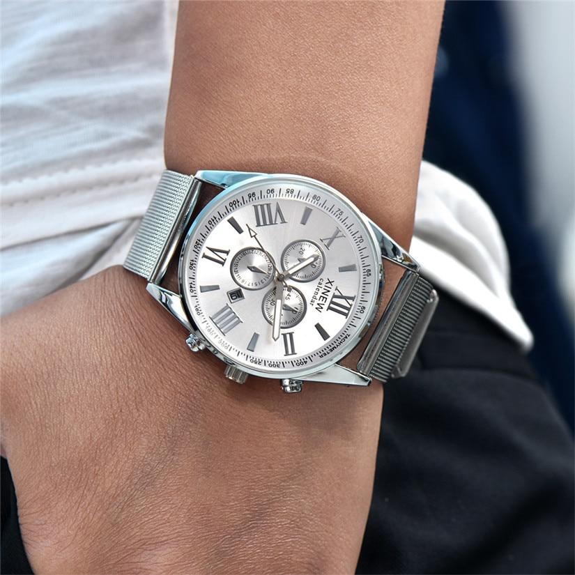 Men Quartz Wristwatches Day Date Analog Quartz Stainless Steel Mesh Wrist Watch Luxury Men Top Brand Steel Strap Casual  4-