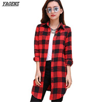 YAGENZ Large Size Women Plaid Shirt2017Spring Summer New Fashion Korean Style Students Long Sleeved Button Lapel