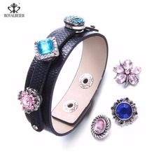 Royalbeier 1PC Leather Bracelets&Bangles Fashion 12MM Snap Button Bracelet For Male and Female Buckle Punk Jewelry Clasp Jewelry