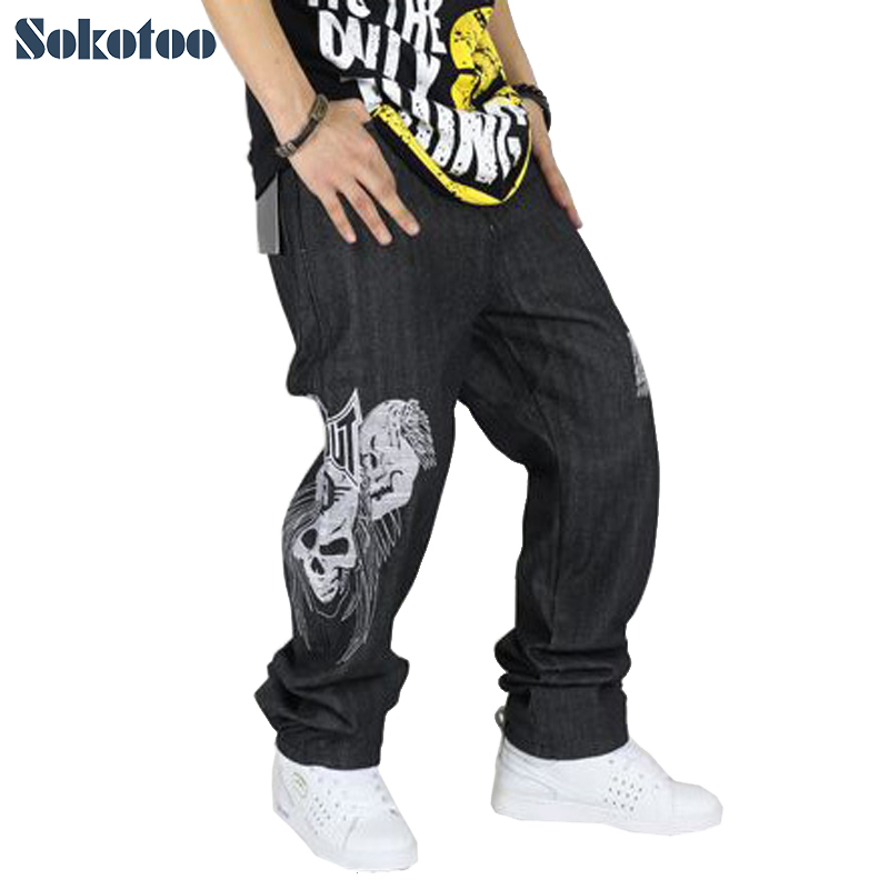 Sokotoo Fashion Hip Hop Jeans For Men Loose Plus Large Size Streetwear Denim Pants Skull Hiphop Long Trousers