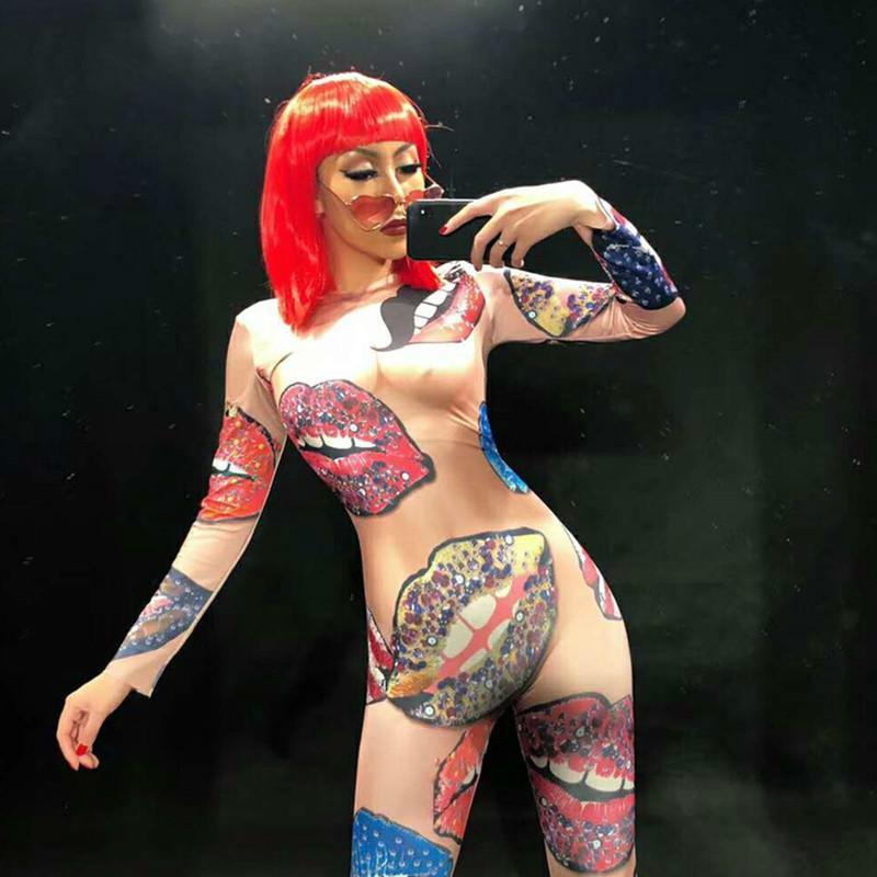 2034dbc0265 Performance D étape Ds De Impression Chanteur Combinaison Sexy Dj Femmes  Discothèque Photo Danseur Color 3d Body Nus Usage Partie Baiser Ange ...