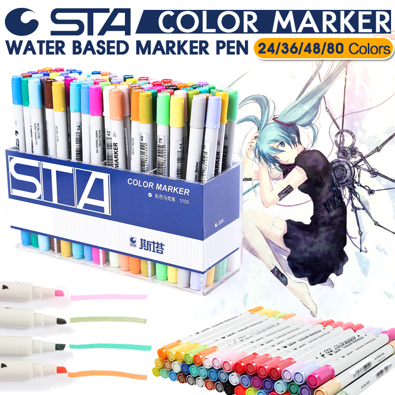 STA 24/36/48/80 Color Art Markers Set Dual Headed Artist Sketch Oily Alcohol based markers For Animation Manga liner brush pen