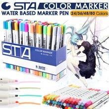 Дешевые STA 24/36/48/80 Цвет Книги по искусству набор маркеров двойной возглавлял Книги по искусству ist эскиз жирной на спиртовой основе маркеры для анимации Manga Лайнер Кисть