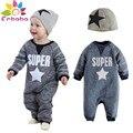 Enbaba мальчиков одежда зимняя мода марка новорожденный одежда С Длинным рукавом письмо пентаграмма детский комбинезон + шляпа спортивные костюмы наряд