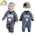 Enbaba chicos ropa de marca de moda de invierno recién nacido ropa de bebé de manga Larga carta pentagrama mamelucos + sombrero trajes del deporte traje