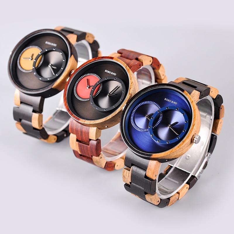 relogio masculino BOBO BIRD Watch Men 2 Time Zone Wooden Quartz Watches Women Design Men's Gift Wristwatches In Wooden Box W-R10 7