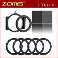 Zomei 150*100mm Neutral Density Square filter ND8+ND4 Kit Complete & Gradual ND Square Filter Kit + 67/72/77/82/86mm ring