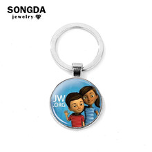 SONGDA Simple Round JW.ORG Keychain Jehovah's Witnesses Series Photo Glass Cabochon Handmade Car Key Ring Women Men Jewelry Gift(China)