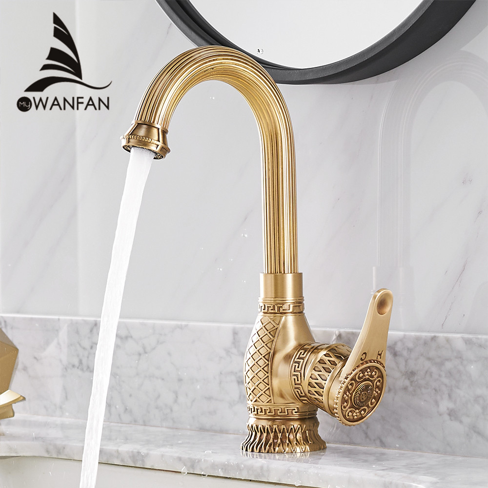 Basin Faucets Retro Bathroom Sink Mixer Deck Mounted Single Handle Single Hole Bathroom Faucet Brass Hot and Cold Tap WF-6828