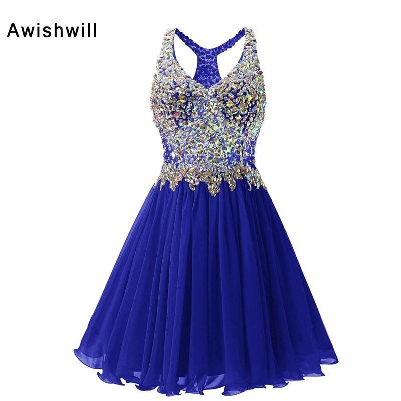 Photo réelle rouge / champagne / bleu royal robes de bal courtes - Habillez-vous pour des occasions spéciales - Photo 4