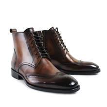 2017 Promotion Botas Hombre Newest Vintage Retro Custom Mens Boots Lace Up Handmade Real Genuine Leather Original Design