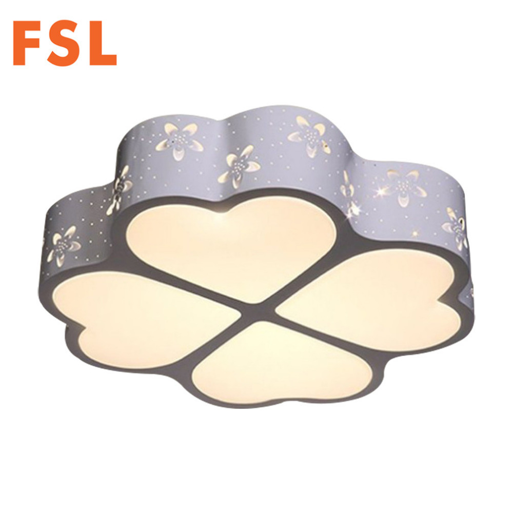 FSL Four leaves Flower LED Ceiling Light Dimmable Bedroom Clover Shape Lamp High Brightness for Children Room Indoor Lighting creative cartoon ceiling lamp smd led electrodeless dimmable air plane shape light study children boy girl room bedroom