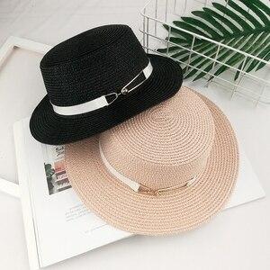 Senhoras verão viagem selvagem pura cor do chapéu de sol Da Moda de metal buckle flat top chapéu de palha mulher