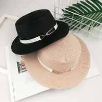 Summer ladies travel wild pure color sun hat Fashion metal buckle flat top woman straw hat