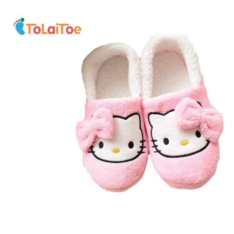 ToLaiToe Lovely Hello Kitty girls indoor slippers indoor slippers Cute cartoon bows TPR big good quality and low indoor slippers tolaitoe autumn