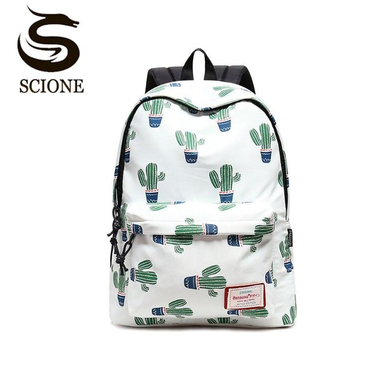 Women Stylish Cactus Printing Backpack Canvas Backpacks for Teenage Girls School Bag Green Backpack Big Travel mochila escolar