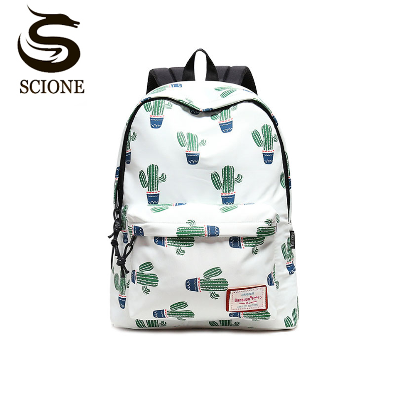 Women Stylish Cactus Printing Backpack <font><b>Canvas</b></font> Backpacks for Teenage Girls School <font><b>Bag</b></font> Green Backpack Big Travel <font><b>mochila</b></font> <font><b>escolar</b></font> image