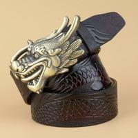 New hot designer leather mens belt Real leather black belt men Cowskin gold Dragon head Buckle famous brand belts men