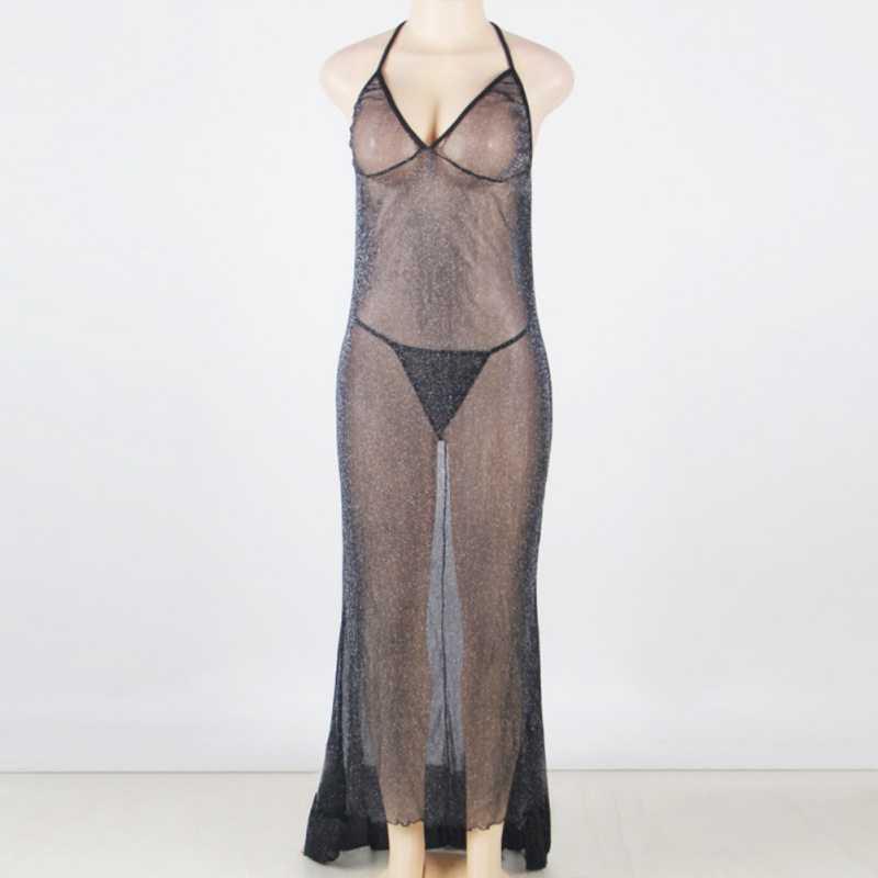 ผู้หญิงเซ็กซี่ร้อนชุดยาว Backless ดูผ่าน Sexy ชุดชั้นในเร้าอารมณ์ชุดชั้นในสตรี Nightdress Nightgowns เซ็กซี่ YRD