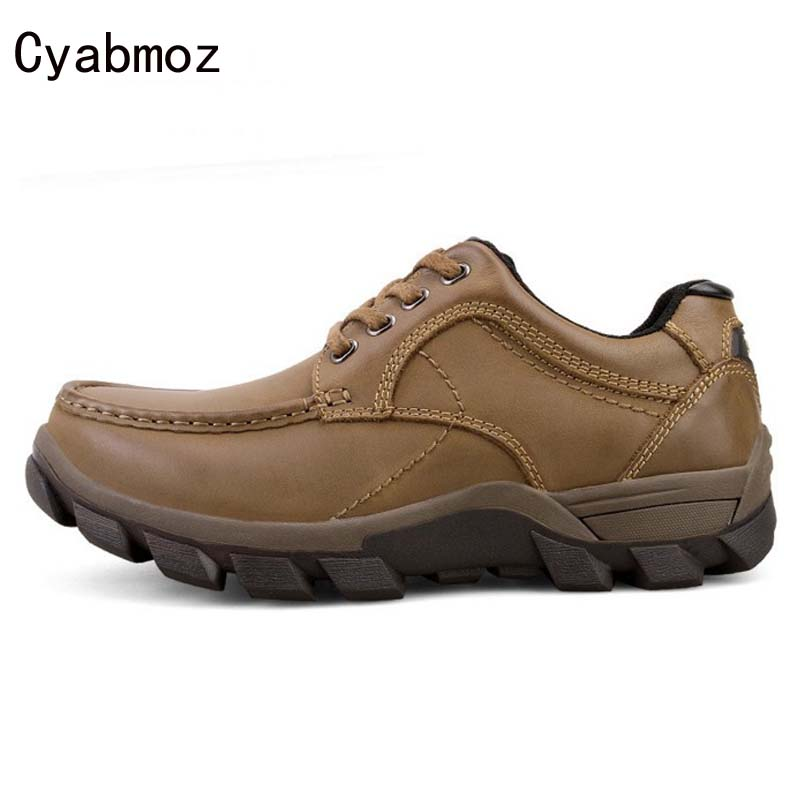 Cyabmoz Autumn winter Genuine Leather Men Casual Shoes Flats Fashion Cowhide handmade shoe Zapatos Hombres Waterproof non-slip real autumn winter shoes men genuine leather lace up mens casual handmade fashion luxury brand flat breathable flats male shoe