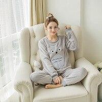 Woman Cute Cartoon Totoro O Neck Pajama Sets Winter Flannel Long Sleeved Thicker Sleepwear Pants Pink