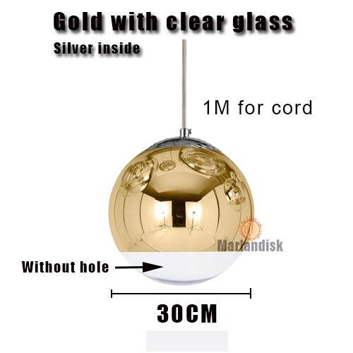 Привлекательный медный/серебристый стеклянный абажур серебристый внутри зеркальный подвесной светильник E27 светодиодный подвесной светильник стеклянный шар лампы для гостиной(DH-50 - Цвет корпуса: 30CM Gold