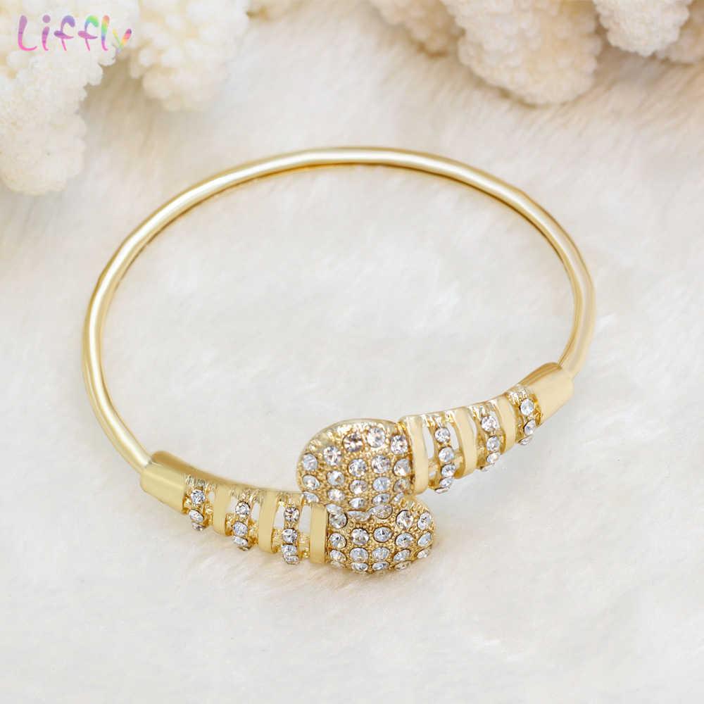 Liffly Мода Дубай золотого цвета комплекты украшений для женщин индийские свадебные ювелирные украшения свадебные ювелирные изделия