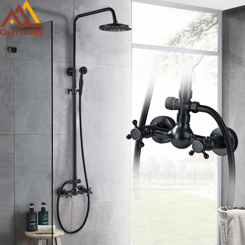 Quyanre Blackend Rainfall Shower Faucet Set Bathtub Shower Kit Dual Handles Mixer Tap Wall Mount Black