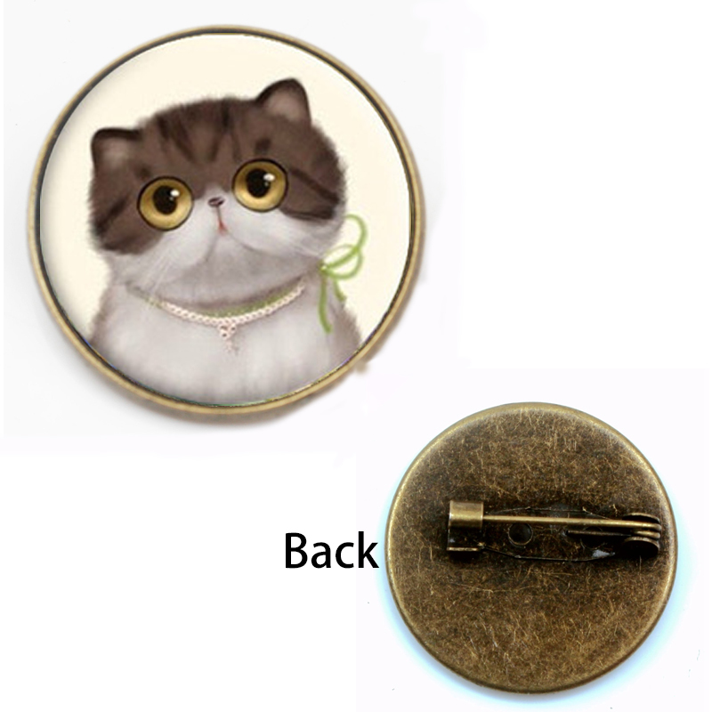 Fashion cute cat brooch female glass convex round bezel wild horse Perola art photo round woman jewelry gifts festival souvenir in Brooches from Jewelry Accessories