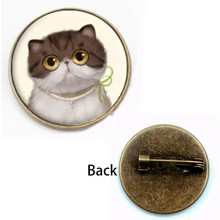 Fashion Cute Cat Bros Wanita Kaca Cembung Round Bezel Kuda Liar Perola Art Photo Bulat Wanita Perhiasan Hadiah Festival Souvenir(China)