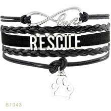 Rescue Yorkie Mom Dogs Paw Animal Infinity Charm font b Bracelets b font Silver Handmade font