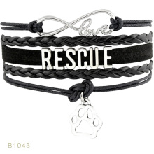 Rescue Yorkie Mom Dogs Paw Animal Infinity Charm Bracelets Silver Handmade Women Men Unisex Jewelry Drop Shipping Christmas Gift
