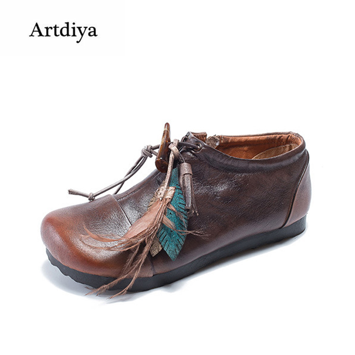 Artdiya Original Folk Style Genuine Leather Women Shoes Flat Sole Autumn New Cowhide Deep Mouth Handmade Retro Shoes 85203-71 tastabo handmade autumn women genuine leather shoes cowhide loafers real skin shoes folk style ladies flat shoes for mom sapato