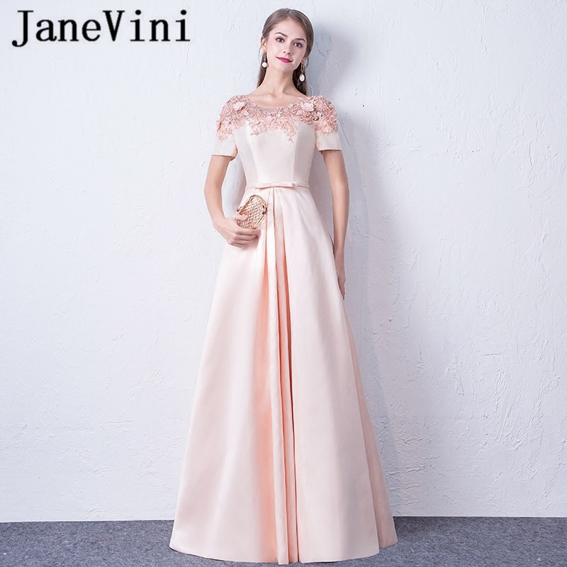 JaneVini Elegant Blush Pink Beaded Bridesmaid Dresses With Sleeves A Line Hand Made Flowers Satin Floor Length Formal Prom Gowns