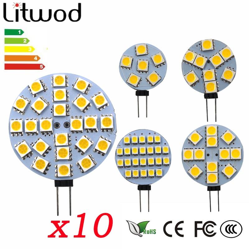 Z30 10 PCS G4 LED Lamp 1W 2W 2.5W 3W 4W 5050 SMD 2835 Spotlight Corn Bulb Car Boat RV Light Cool White Warm White DC12V