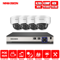 H.265 CCTV System POE NVR kit 4ch 4MP waterproof POE IP camera bullet Home Security camera system outdoor low lux onvif nivision