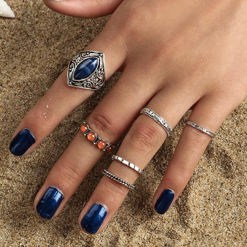 Mode Vintage Knuckle Rings Untuk Wanita Pria Retro Pola Warna Campuran Jari Midi Cincin Emas Perak Steampunk Perhiasan