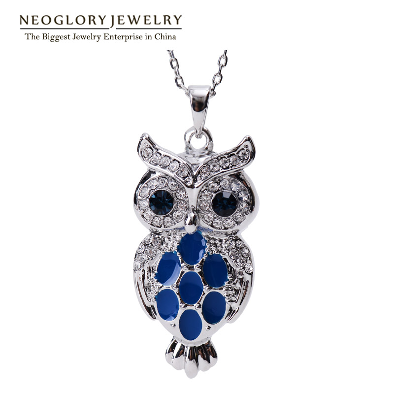 Neoglory Austrian Enamel Paint Cute Blue Owl Ladies Pendant Necklaces for Teens Gril Jewelry Gifts 2018 New Hot ENA1