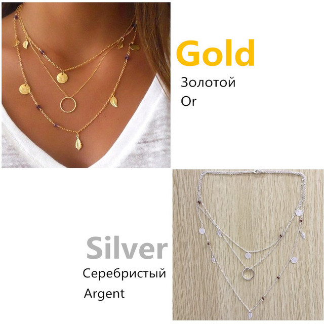 Pameng Silver Color Chain Leaves Multi Layer Choker Necklace for Women Collier Femme Fashion Jewelry Gold Color 2