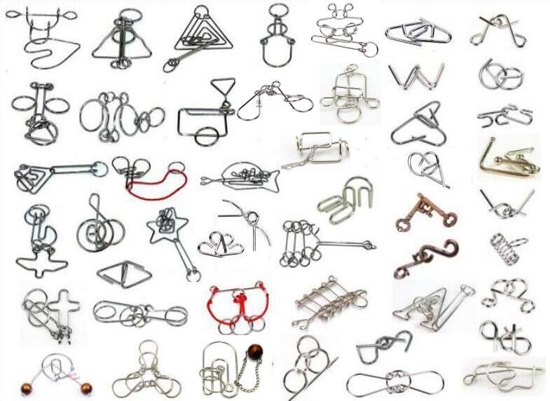 Lot de 48 pièces Difficiles IQ Puzzle En Fil Métallique Jeu Cerveau Teaser pour Adultes Enfants