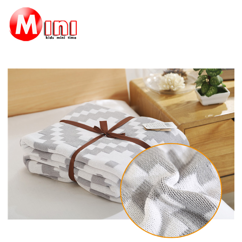 120*180cm Kids Rest Blankets Air Conditioning Knitted Children Blankets Simplicity Knitting Wool Office Blankets