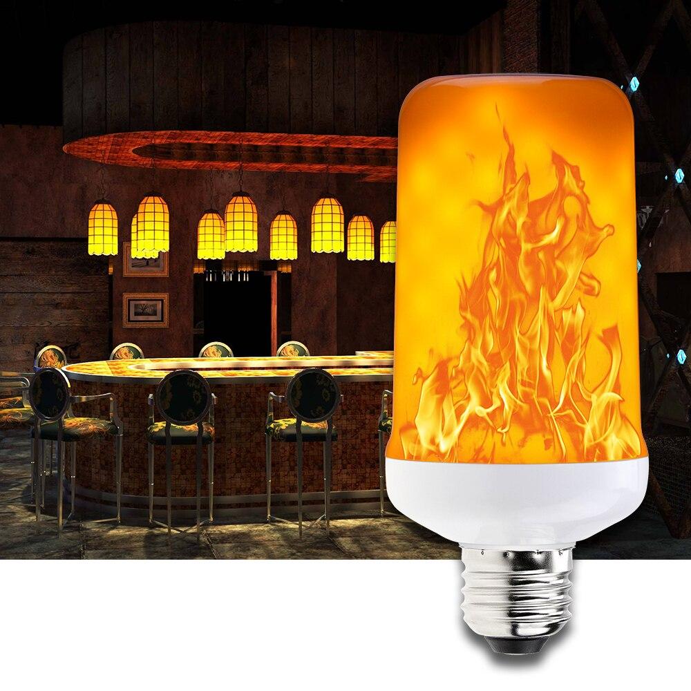 SMD2835 E27 LED Flame Effect Lamp E14 LED Creative Emulation Fire Light Bulb E26 220V Christmas Holiday Garden decoration 99leds