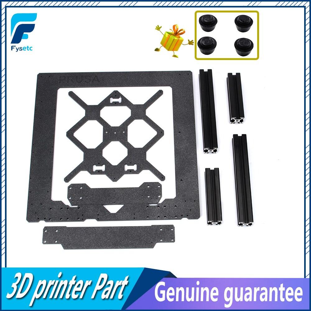 Peças de Impressora Prusa i3 MK3 3D Clone Originais de Alumínio Frame Da Liga de Transporte Y Frente Com Placa Traseira de Alumínio + Preto kit de perfil
