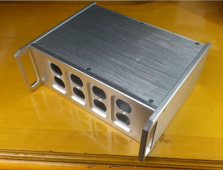 Silver aluminum amplifier chassis Handle amplifier chassis Power Box AMP Enclosure /case/DIY box (320*120* 265mm) 4308 rounded chassis full aluminum enclosure power amplifier box preamplifier chassis