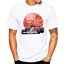 2018 New Summer Men Plus Size Clothing Casual F1 Car Styling T Shirts James Hunt T-shirt Fashion Novelty Hip Hop Tee Tops(China)