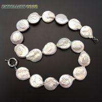 Лидер продаж большие размеры барокко кнопку монет естественную форму пресноводный жемчуг белого цвета колье ювелирных украшений для любой...