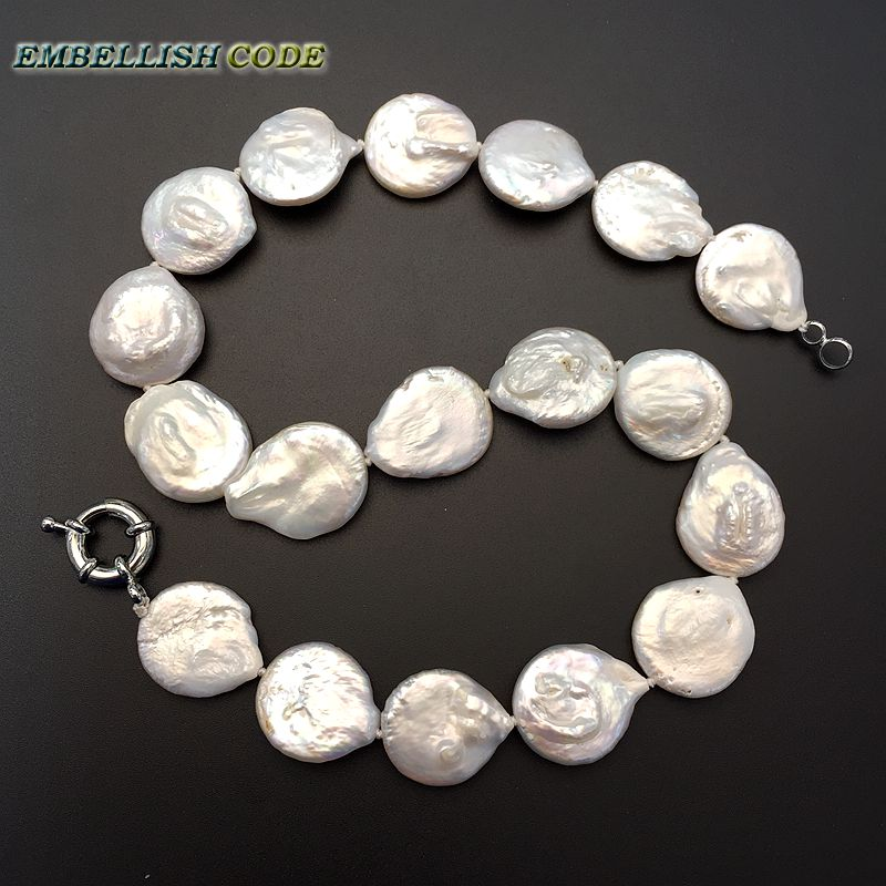 Énorme naturel AAA 12-13 mm South Sea Authentique Blanc Perle Baroque Collier 18/""