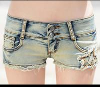 2017 Summer New Style Women's Club Wear Sexy Low Waist Side Beading Lace Decorate Hole Slim Denim Jean Shorts Skirts Light blue